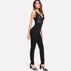 High Waist Deep V Neck Lace Cami Jumpsuit