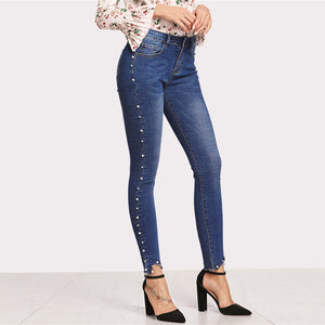 Pearl Beaded Raw Hem Skinny Jeans