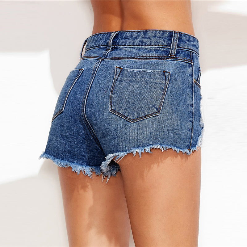 Low Rise Distressed Jean Short
