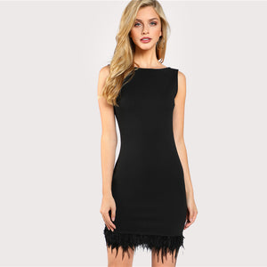 Sexy Feathered Hem Cocktail Dress