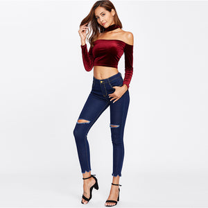 Skinny Crop Denim Jeans - Frayed Hem