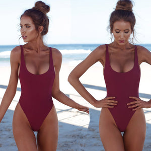 Solid One Piece Swimsuit