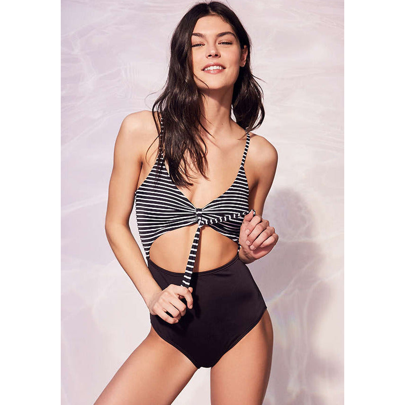 Striped One Piece Cut Out Swimsuit