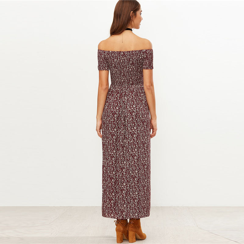 Double Slit Calico Print Dress