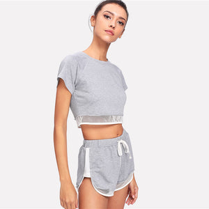 Heather Knit Tee & Shorts Set