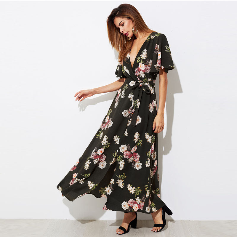 Floral Deep V Neck Dress