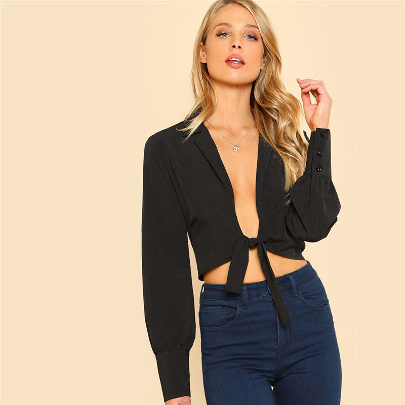 Wide Cuff Plunging  Blouse