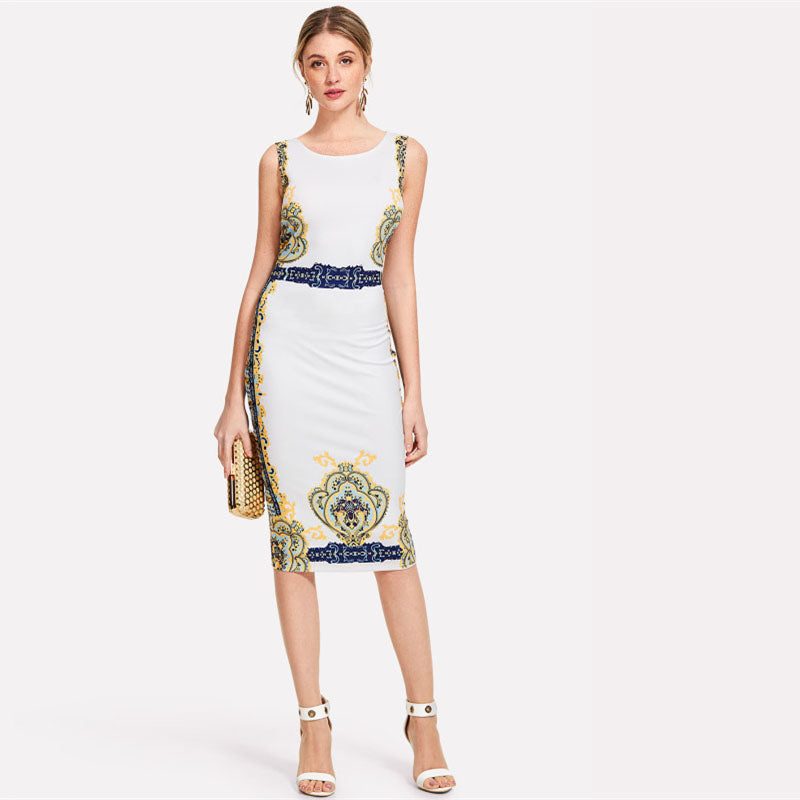 Ornate Print Sleeveless Dress