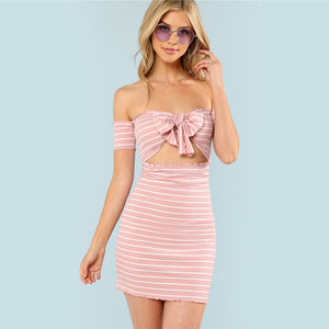 Pink Bodycon High Waist Dress