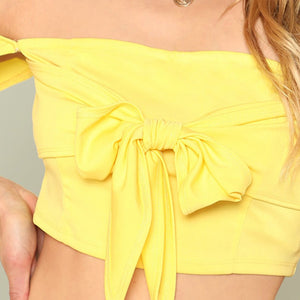 Bow Tied Solid Crop Top