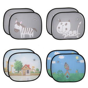 2Pcs Cute Cartoon Car Styling Curtain Anti Universal Car Window
