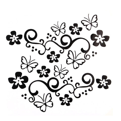 Image of 460 x 270mm 2Pcs Waterproof Universal Flower and Butterfly Car Sticker PVC for Auto Truck