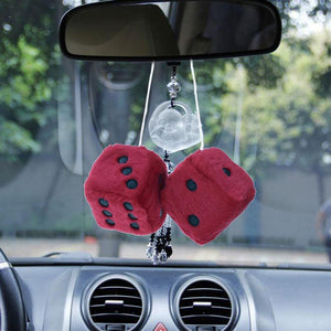 Fuzzy Dice Hanging Charm Auto Car Ornament