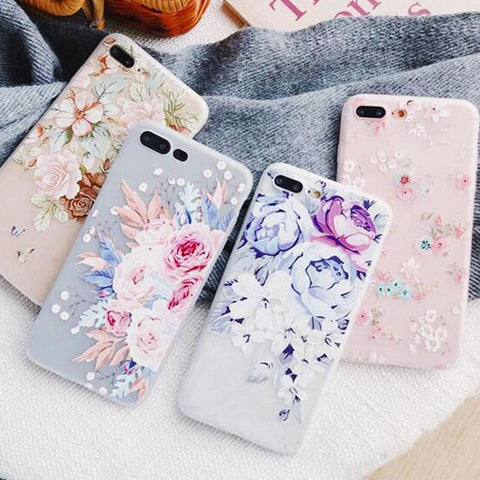 3D Relief Flowers Phone Case