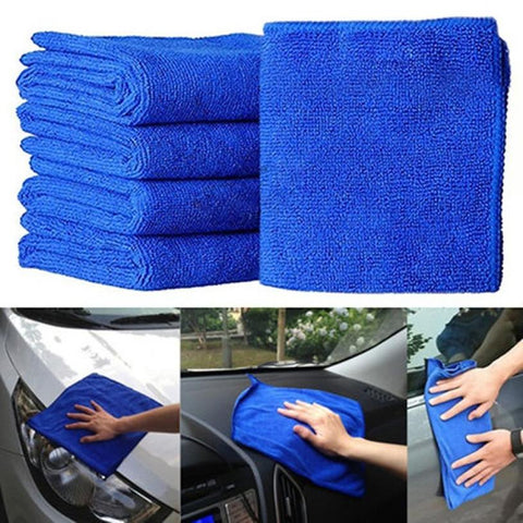 5Pcs Blue Soft Absorbent Wash Cloth