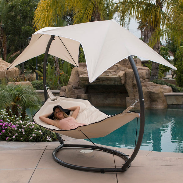 Belleze Hammock Swing with Sunroof Dual Canopy Sunshade Patio Sun Lounge Bed Lounger