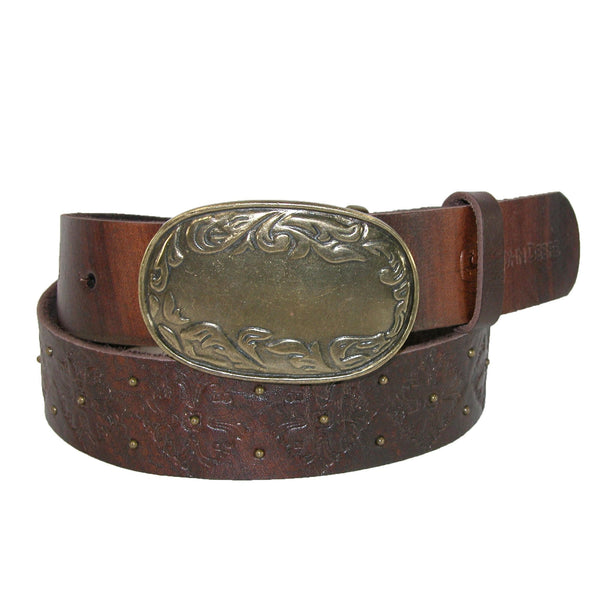 John Deere Women's Distressed Belt with Antiqued Floral Buckle