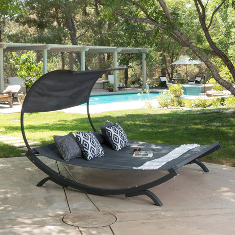 Marrakech Outdoor Wood Sunbed with Canopy by Christopher Knight Home - Grey