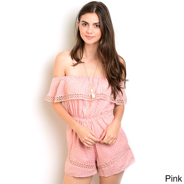 Shop the Trends Women's Cotton/Polyester Off-the-shoulder Woven Romper With Flounce Layer Neckline