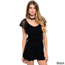 Shop the Trends Women's Sleeveless Romper with Lace Ruffle Neckline That  Can Be Pushed Off-