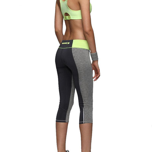 Yellow Women's zipper pocket and reflective leggings perfect for running and working out