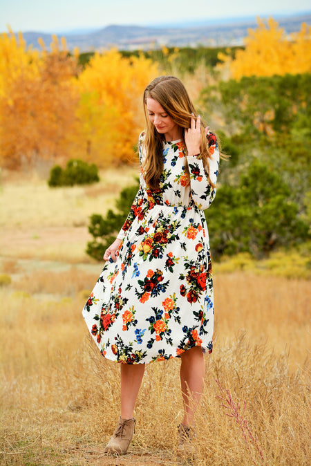 Off Shoulder Dress in Watercolor