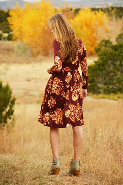 Burgundy and Gold Floral Dress