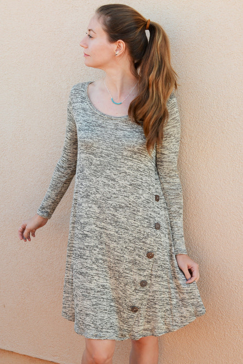 Heather Grey Button Detail Dress