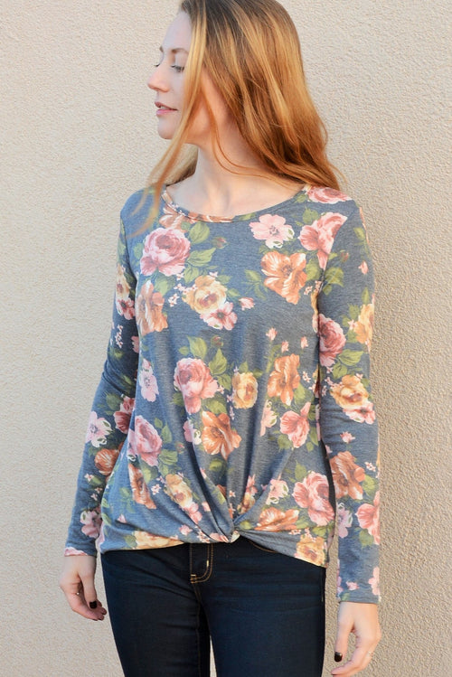 Floral Twist Front Shirt in Charcoal