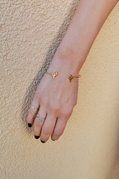 Cactus Bangle Bracelet in Gold