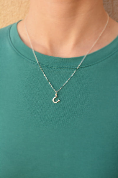 Tiny Horseshoe Necklace in Sterling Silver