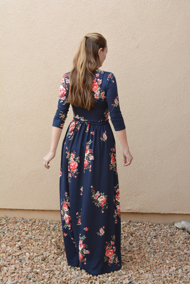 Navy Blue Maxi Dress in Floral