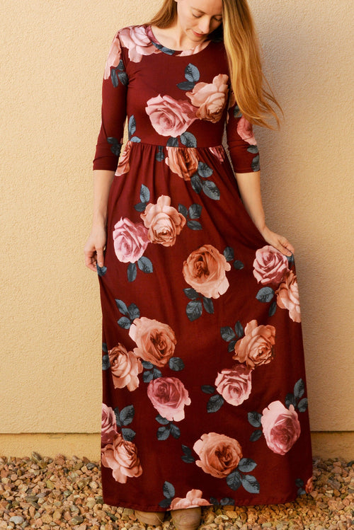 Floral Maxi Dress in Burgundy