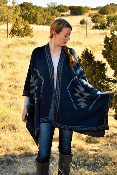Navajo Print Poncho in Blue