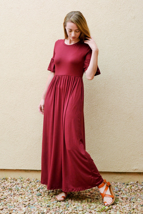 Dancing Burgundy Maxi Dress
