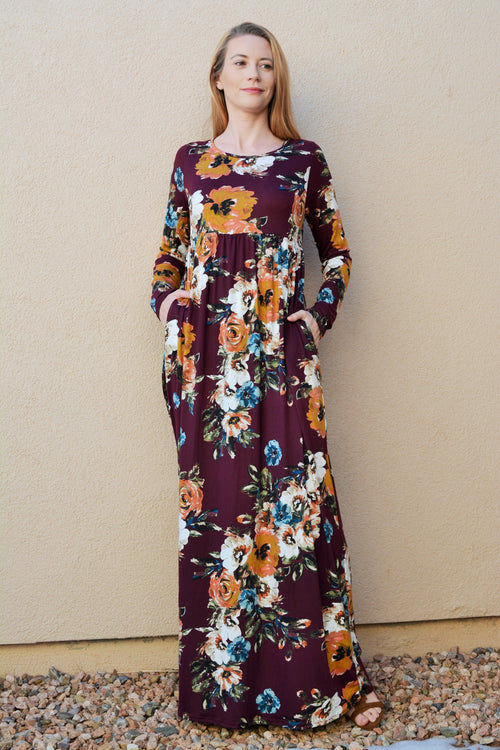 Crimson Kisses Floral Maxi Dress