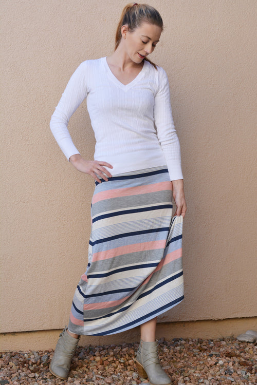 Coral and Grey Striped Skirt