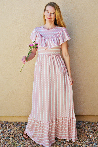 Cotton Candy Striped Maxi - Blush