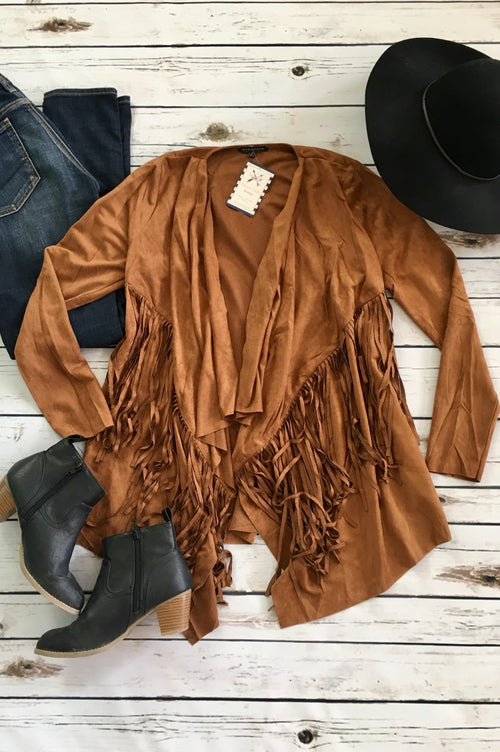 Southwest Fringe Blazer in Vegan Suede