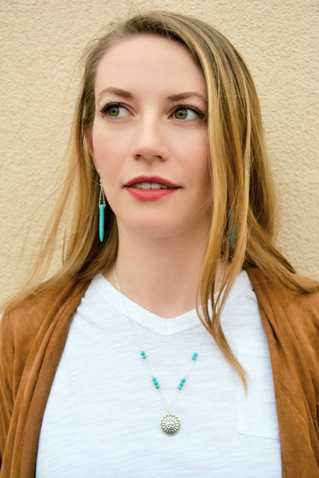 Turquoise Bull Skull Layering Necklace