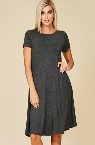 Charcoal Grey T Shirt Dress