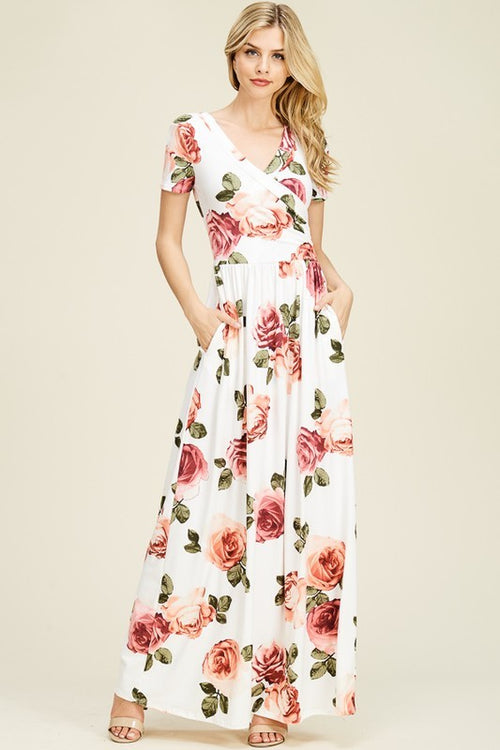 Rosy Bliss Wrap-Front Maxi Dress