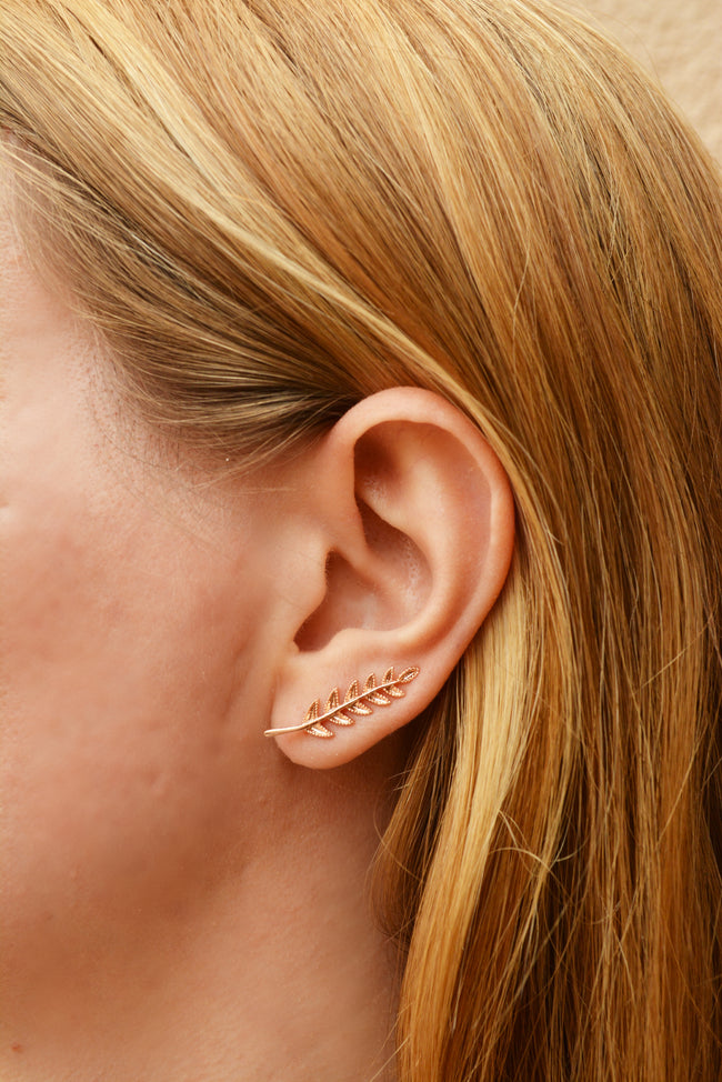 Rose Gold Climber Earrings