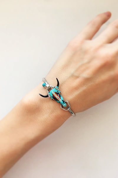 Cow Skull Bracelet with Real Turquoise - Silver