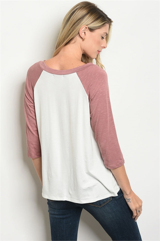 Dusty Rose Baseball Tee