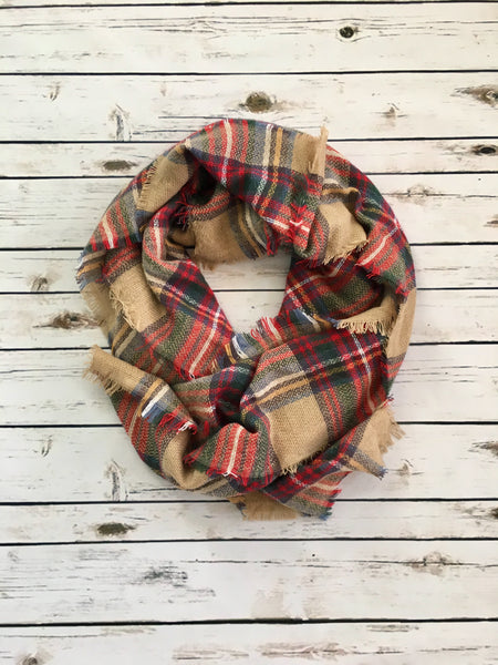 Cozy Campfire Blanket Scarf - Red