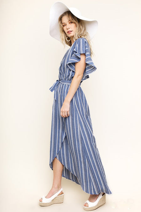 Floral and Stripes Maxi Dress