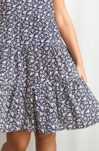 Floral Summer Dress with Tiered Skirt