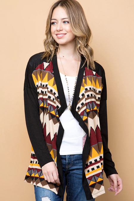 Southwest Stargazer Eyelash Knit Cardigan - Black