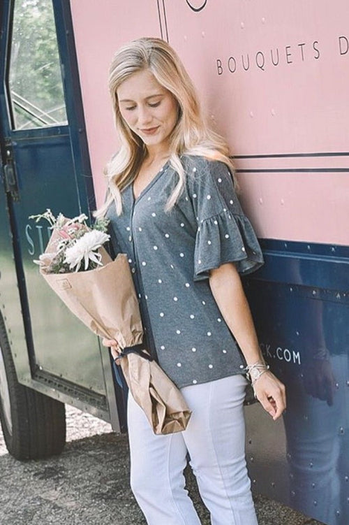 Dots of Happiness Charcoal Grey Top